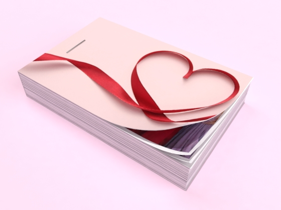 flipbook saint valentin rose et rouge avec un ruban