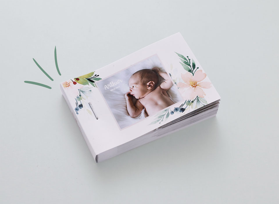 Flipbook personnalisable faire-part de naissance bébé arthur
