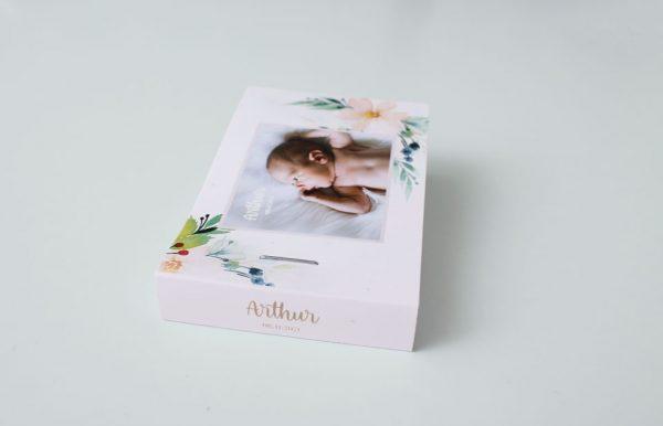 tranche du flipbook personnalisé faire part de naissance bébé arthur