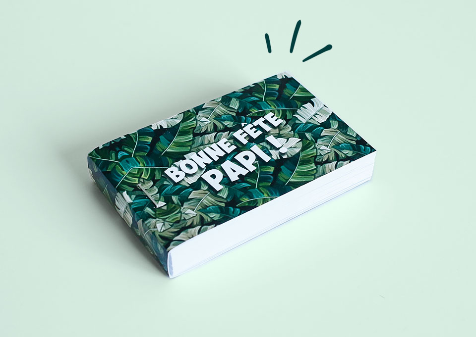 flipbook vert motif jungle bonne fête papi