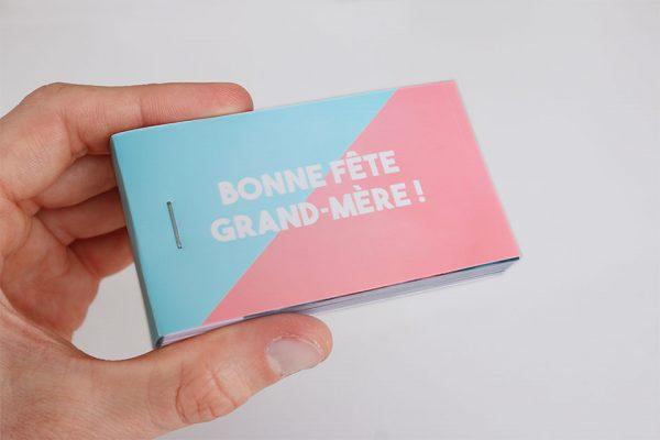 flipbook imprimer grand mère rose et bleu